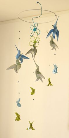 Origami crane hanging mobile ready to ship sophies big girl mobile bb origami suspension spirale chambre enfant bb oiseau colibri lapin babyshower bleu vert vert mint ccuart Gallery