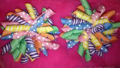 Pastel SET (2) KORKER HAIR BOWS with Alligator Clips #Handmade