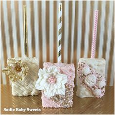 Pretty Pink and Gold Wedding Chocolate Covered Rice Krispies Treats With Fondant Flowers!