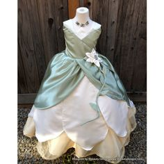 Tiana Princess Lily Dress Gown Adult or Child Custom Costume ($600) ❤ liked on Polyvore