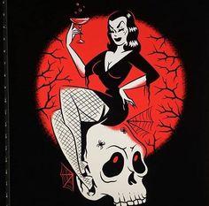 Be Independent 🖤 Official Vampira art by Vintage Horror, Vintage Cartoon, Vintage Art, Halloween Art, Vintage Halloween, Dibujos Pin Up, Rockabilly Art, Maila, Goth Art