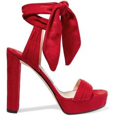 Jimmy Choo Kaytrin suede platform sandals (53,075 INR) ❤ liked on Polyvore featuring shoes, sandals, heels, red, jimmy choo shoes, red heel shoes, red shoes, suede sandals and red high heel shoes