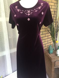 SWAT Dress Size 18 1/2 Burgundy (Wine Color)  and Pink Velvet Velour Stretch…