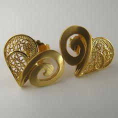 Brincos de filigrana em prata dourada - Golden Silver Filigree Earrings - Pendientes en filigrana de plata dorada