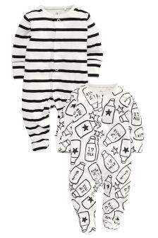 Two Pack Milk Bottle Sleepsuits (0-2yrs)