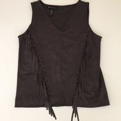 "INC International Concepts Dark Grey Fringed Top New without tags,Dark Grey Sleeveless fringe top INC International Concepts. V-Neck, pullover style Faux suede body Fitted Nothing is more chic than fringed faux soft  suede!  size medium fits about 36"" to 38"" bust, size 10 INC International Concepts Tops Blouses"