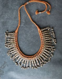 Silver necklace from Yemeni | Date not provided.  Silver dangles are 26 mm long each