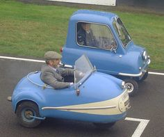 The open micro car is a German Brutsch Mopetta and the other one is a British Peel P50