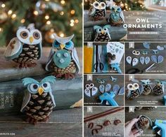 Owl ornaments, too cute! This would be a fun activity to do with the grand babies
