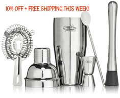 Stainless Steel Wine & Cocktail Bartender Set 16 Piece Set Includes Essential Barware Tools and Ice Bucket-Mix drinks and serve wine like a professional. Cocktail Accessories, Bar Accessories, Bartender Set, Wine Stoppers, Craft Cocktails, Bar Tools, Bar Set, Cool Bars, Cool Gifts