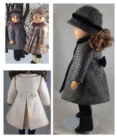 Classic Lined Coat - 18 inch Doll - Traditional Cloche Hat - Classy Doll Clothes - Vintage Inspired -Tailored Wool - PDF Pattern - camel Looking for a classic tailored coat that will be a classy addition to your doll's wardrobe? Sewing Doll Clothes, Doll Clothes Patterns, Girl Doll Clothes, Clothing Patterns, Girl Dolls, Doll Patterns, Ag Dolls, Barbie Clothes, Dress Patterns