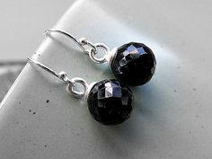 Black spinel earrings spinel silver earrings by TheAmberSunflower