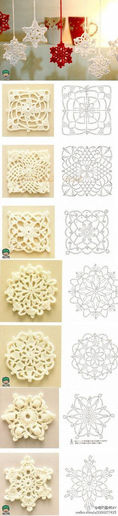DIY crochet snowflakes–instructions in Japanese but an experienced crocheter could suss out from charts here – Knitting and crocheting Crochet Diy, Crochet Motifs, Crochet Chart, Crochet Squares, Crochet Doilies, Crochet Flowers, Crochet Stitches, Crochet Patterns, Granny Squares