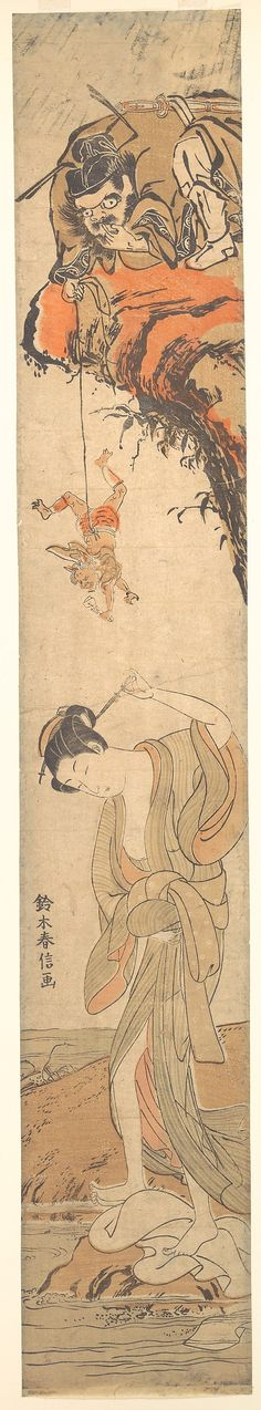 Suzuki Harunobu (Japanese, 1725–1770). Beauty with Demons, 18th century. The Metropolitan Museum of Art, New York. H. O. Havemeyer Collection, Bequest of Mrs. H. O. Havemeyer, 1929 (JP1656) #demon #Halloween