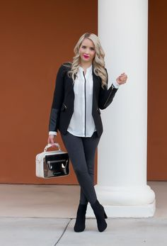 9eb693d939f1ff Outfit of the Day    Contrast-Trim Blouse White-Black