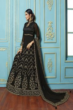 c2cb2924064 Enticing Black Georgette embroieded dupatta with khatli work Anarkali suit