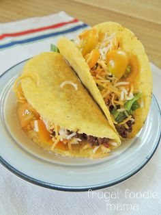3 Ingredient Crock Pot Tacos- just 3 ingredients, 1 Crock Pot, & 6 hours to the best taco meat ever! via Frugal Foodie Mama