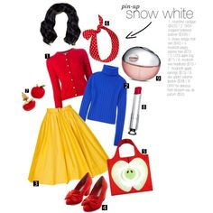 Pin-Up Snow White by bleedingbaroque on Polyvore featuring DKNY, Boutique Moschino, But Another Innocent Tale, LOQI, Christian Dior and vintage