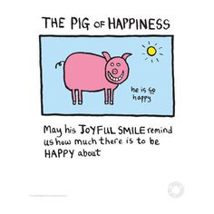 Edward Monkton Fine Art Print - Pig of Happiness ($14) ❤ liked on Polyvore featuring home, home decor, wall art and pig wall art