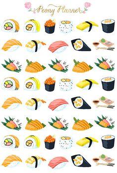 Sushi Planner Stickers Erin Condren Kikki K by PeonyPlanner