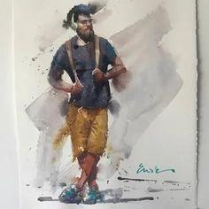 Eudes Correia: 2 тыс изображений найдено в Яндекс.Картинках Watercolor Sketch, Watercolor Portraits, Watercolor Illustration, Watercolor Paintings, Painting People, Figure Painting, Gouache Painting, Dark Photography, Indian Art