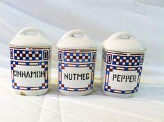 Shabby chic vintage spice jars
