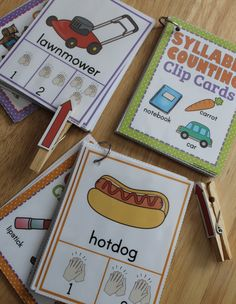 Count and clap the syllables with syllable counting clip cards from Jen Hier