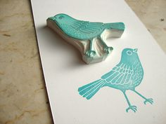 my favorite bird stamp (: hand carved bird stamp.possible couch stamp Stamp Printing, Screen Printing, Eraser Stamp, Stamp Carving, Carving Tools, Handmade Stamps, Bird Art, Hand Carved, Arts And Crafts