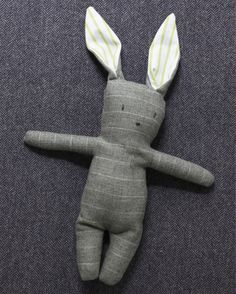 Suiting fabrics are an unconventional but charming choice for making toy bunnies. Bright cotton shirting adds a surprising pop of color inside the ears.Print the Template