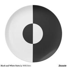 Black and White Unite Dinner Plate