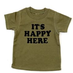 """Happy Here"" Tee - Olive"