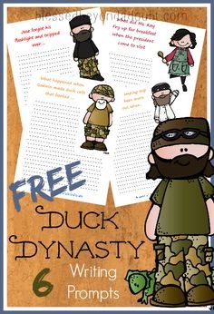 FREE Duck Dynasty printables - writing prompts! Perfect for the reluctant writer.