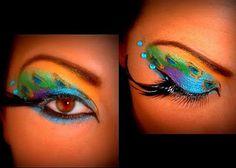 Perfect eye make-up for a peacock costume- next Halloween. Photo Makeup, Makeup Art, Makeup Tips, Beauty Makeup, Hair Makeup, Hair Beauty, Makeup Ideas, Pastel Makeup, Glam Makeup