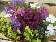Bouquet of hesperis, honesty, lady's mantle, phacelia and alliums