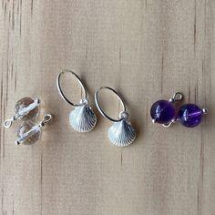 Silver Sleepers & Shell Charm, Amethyst, Rock Crystal Earrings
