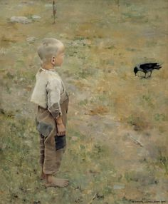 Akseli Gallen-Kallela Boy With a Crow - 1884 (Ateneum Art Museum, Helsinki, Finland) Oil on canvas. Crow Painting, Figure Painting, Painting & Drawing, Google Art Project, Scandinavian Art, Expositions, Art Database, Oil Painting Reproductions, Fine Art