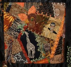 I ❤ crazy quilting & embroidery . . . African CQ Block 7 ~by Crazybydesign