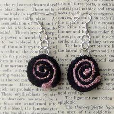Black and Pink Crochet Shell Earrings, Boho Earrings, Bohemian Earrings, Boho Jewelry, Gifts for Her, Women's Earrings, Jewelry, Earrings by DivinitysDivineTouch on Etsy