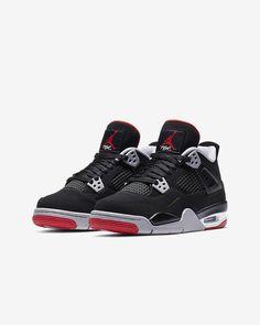 Air Jordan 4 Retro Big Kids' Shoe. Nike.com Cute Jordans, Black Jordans, Air Jordans, Red Nike Shoes, Shoes Sneakers, Air Jordan 4 Bred, Jordan 4 Black, Plastic Lace, Cute Shoes