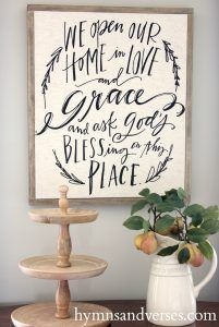 Hymns and Verses - We Open Our Home in Love and Grace and Ask God's Blessing on this Place - Framed Mary & Martha Tea Towel DIY