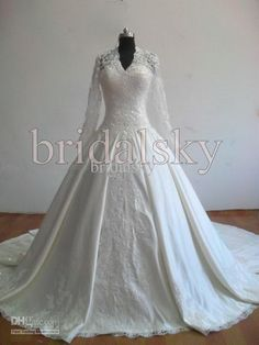 Wholesale Ivory Long sleeves Appliques Beaded V neck A-Line Chapel Train Wedding Gowns Bridal Dresses H-772, Free shipping, $123.22-135.87/Piece | DHgate