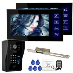Brand New Wired 7 inch Color Video Door Phone Intercom System 2 Monitor + RFID Keypad Camera + 250mm Strike Lock FREE SHIPPING #Affiliate