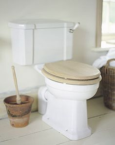use terracotta pot to store toilet bowl brush.Wood brush $7.99@Green Boat Stuff
