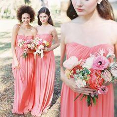2017 A Line Bridesmaid Dresses Floor Length Pleat Backless Strapless Chiffon Bridesmaid Gowns Long Coral Maids Of Honor Gowns Bridesmaid Dresses Green Bridesmaid Dresses Sale From Faithfully, $82.42  Dhgate.Com