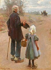 A little girl and her grandfather watching the stage coach in the distance - Erik Ludvig Henningsen Old Master, Art Auction, Belle Epoque, Impressionist, Webtoon, Les Oeuvres, New Art, Scandinavian, Sketches