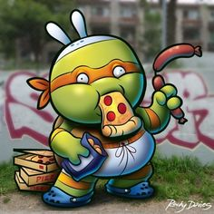 Nerdles Mikey. He's a party dude. I drew Mikey, I stole the graffiti background online. #mikey #mike #michelangelo #tmnt #teenagemutantninjaturtles #ninja #derp #derpy #nerdy #nerd #nerdle #ninjaturtle #pizza #orange #art #drawing #dorky #dork...