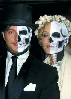 Halloween makeup-have skeleton on OPPOSITE sides of faces instead of same side. take photos kiss, one way looks like two skeletons kissin, other way looks like the couple kissing-for falll wedding invites?