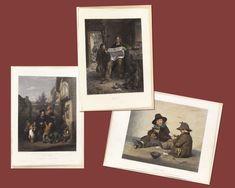 Set of 3 Vintage Aquatint Hand Coloured Prints Victorian Children Orphans - Lost Elegance Guest Books, Decor Wedding, Antique Books, Fashion Plates, Wedding Guest Book, Hand Coloring, All Print, Wall Art Decor, Diaries
