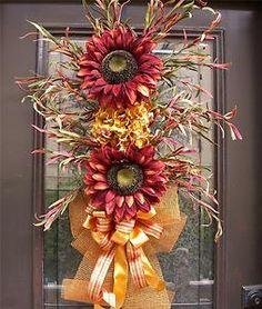 Fall Sunflower Wreath Swag Door Floral Wall Rust Flower Bouquet Arrangement Luxe | eBay