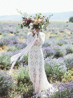Lavender field in Mona, Utah in Autumn